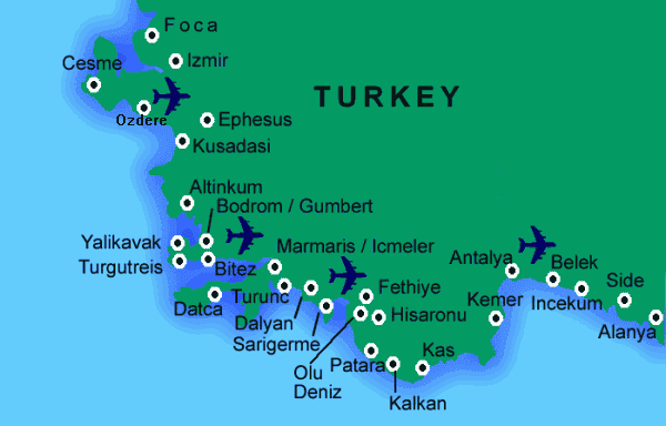 Holiday Guide to Calis Beach- Calis Beach Map